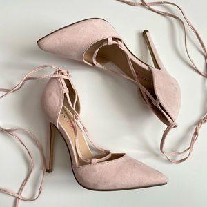 Justfab Pink Blush Tie Up Heels New